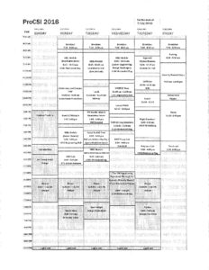 Schedule for ProCSI 2016