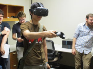 One ProCSI 2017 member tests virtual reality goggles
