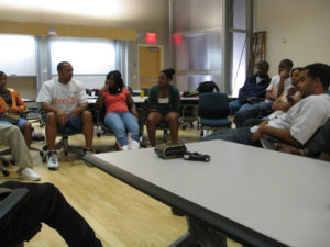 ProCSI 2008 members listen to a camp leader talk