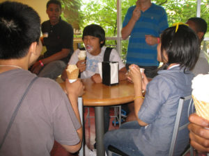 A ProCSI 2010 member gets ice cream all over his face