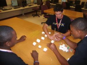 Three ProCSI 2011 members build a tower