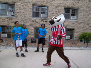 ProCSI 2012 members smile when Bucky Badger arrives