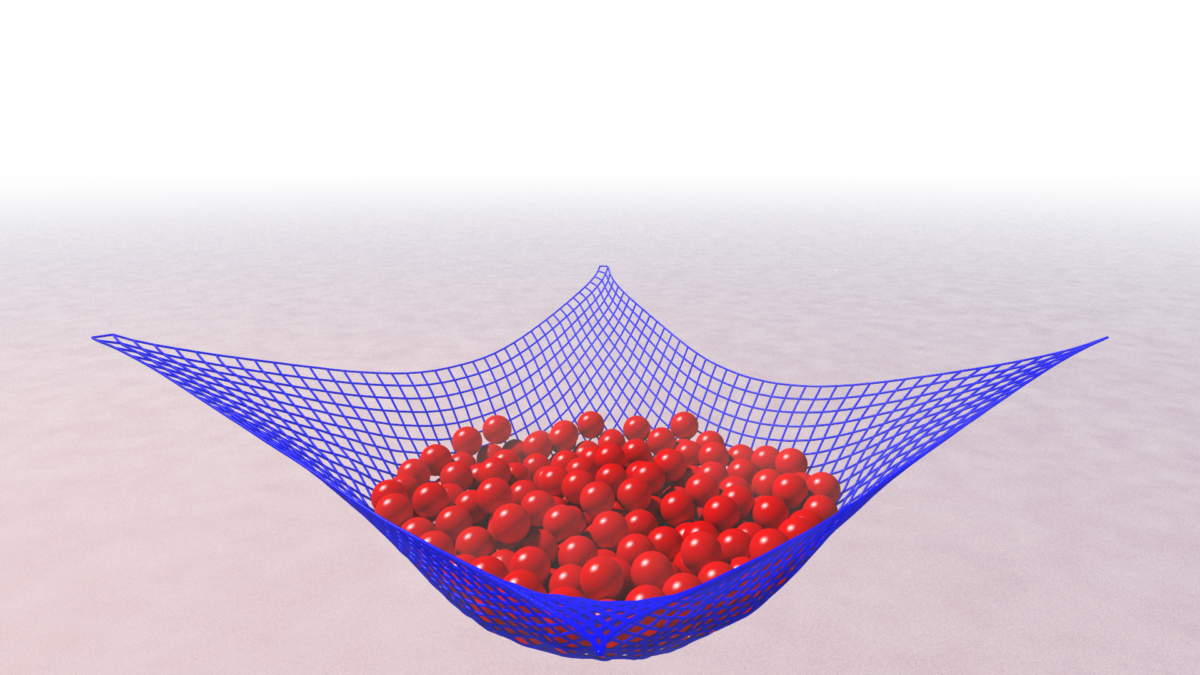 A screen grab of a simulation with balls being caught in a net