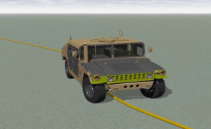 Screenshot of a vehicle simulation changing lanes
