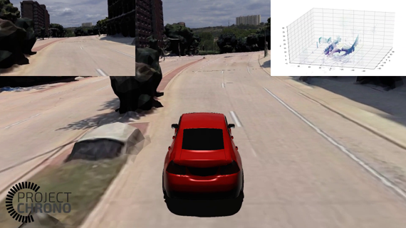 Simulated vehicle driving through city